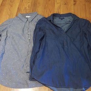 Lot of 2 Old Navy Chambray Shirts